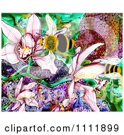 Clipart Bees With Flowers In A Garden Royalty Free Illustration