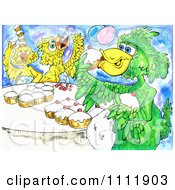 Birds Eating Cupcakes
