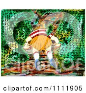 Clipart Girl Looking For Something In Bushes Royalty Free Illustration