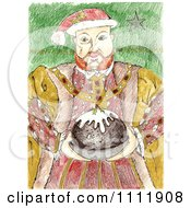 Clipart King Henry Holding Christmas Pudding Royalty Free Illustration