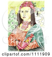 Clipart Christmas Mona Lisa Holding A Cracker Royalty Free Illustration