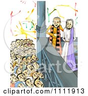 Clipart Mob Shouting Crucify Him To Judge Pilate With Jesus At His Trial Royalty Free Illustration