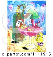 Clipart Woman Bathing In A Glass Under An Alcohol Spout From A Bottle Royalty Free Illustration by Prawny