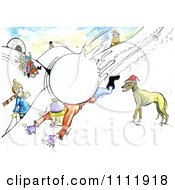 Clipart Large Snowball Taking Down A Man Royalty Free Illustration