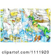 Clipart Chaotic Kitchen With Chefs Making Messes Royalty Free Illustration by Prawny