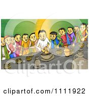 Clipart People Breaking Bread At The Last Supper Royalty Free Illustration by Prawny