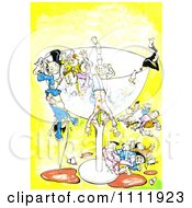 Clipart Drunk Peole Falling From A Giant Glass Royalty Free Illustration by Prawny