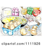 Clipart Eggs And Veggies By An Omelet In A Pan Royalty Free Illustration by Prawny