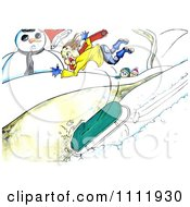 Clipart Kid Flying Off Of A Sled Royalty Free Illustration