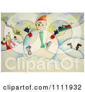 Clipart Boy Caught In A Giant Snowball Royalty Free Illustration