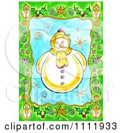 Friendly Snowman With A Green Christmas Border