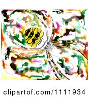 Yellow Striped Spider Over An Abstract Background