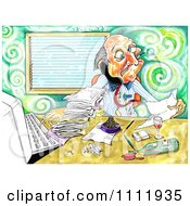 Clipart Stressed Businessman Drinking And Smoking While Trying To Do Paperwork Royalty Free Illustration by Prawny