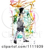 Clipart Victorian Man Walking Over Abstract Colors Royalty Free Illustration