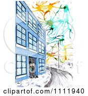 Clipart Victorian Men At A Building Entrance In The Winter Time Royalty Free Illustration by Prawny