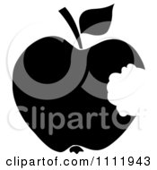 Clipart Black Apple With A Missing Bite Royalty Free Vector Illustration