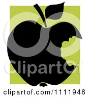 Clipart Black Apple With A Missing Bite Over A Green Square Royalty Free Vector Illustration