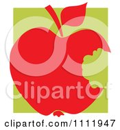 Clipart Red Apple With A Missing Bite Over A Green Square Royalty Free Vector Illustration