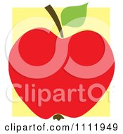 Clipart Red Apple Over A Yellow Square Royalty Free Vector Illustration