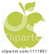 Clipart Green Apple With A Missing Bite Royalty Free Vector Illustration