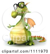 Clipart 3d Green Dragon Wearing Glasses And Presenting Royalty Free CGI Illustration