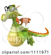 Clipart 3d Green Dragon Wearing Glasses And Flying Royalty Free CGI Illustration