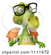 Clipart 3d Green Dragon Wearing Glasses And Holding A Sign 1 Royalty Free CGI Illustration