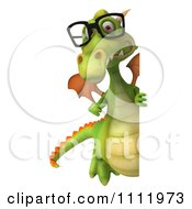 Clipart 3d Green Dragon Wearing Glasses And Holding A Sign 2 Royalty Free CGI Illustration