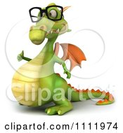 Clipart 3d Green Dragon Wearing Glasses And Holding A Thumb Up 1 Royalty Free CGI Illustration