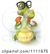 Clipart 3d Green Dragon Wearing Glasses And Holding A Thumb Up 2 Royalty Free CGI Illustration