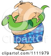 Chubby Hairy Man With A Snake Inner Tube