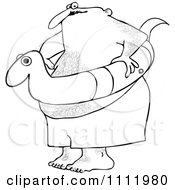 Clipart Outlined Chubby Hairy Man With A Snake Inner Tube Royalty Free Vector Illustration