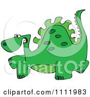Clipart Green Scared Dinosaur Royalty Free Vector Illustration