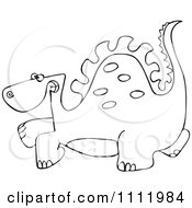 Clipart Outlined Scared Dinosaur Royalty Free Vector Illustration