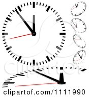 Clipart Black And White Wall Clocks With Red Second Hands Royalty Free Vector Illustration