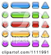 Clipart 3d Colorful Chrome Outlined Glass Icons In Different Shapes Royalty Free Vector Illustration by dero