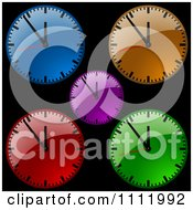 Clipart Colorful Dial Wall Clocks On Black Royalty Free Vector Illustration