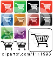 Clipart Colorful Square Shopping Cart Icons Royalty Free Vector Illustration