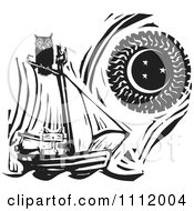 Clipart Owl Perched Atop A Cat In A Sailboat Against A Sun And Moon Black And White Woodcut Royalty Free Vector Illustration by xunantunich
