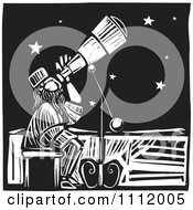 Astronomer Star Gazing Through A Telescope Black And White Woodcut