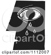 Clipart Crying Eye And Face In Profileblack And White Woodcut Royalty Free Vector Illustration by xunantunich