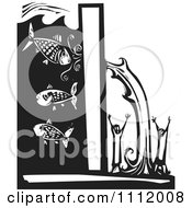Clipart Water Breaking Through A Levee And Pouring Over People Black And White Woodcut Royalty Free Vector Illustration by xunantunich