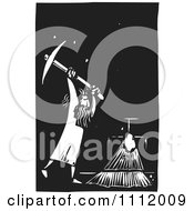 Clipart Man Breaking Through A Wall With A Pick Axe Black And White Woodcut Royalty Free Vector Illustration