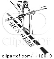 Woman Balancing And Walking A Sign Here Dotted Line Tight Rope Black And White Woodcut