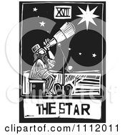Clipart The Star Astronomer Tarot Card Black And White Woodcut Royalty Free Vector Illustration