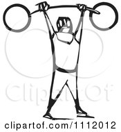 Clipart Strong Man Lifting A Barbell Above His Head Black And White Woodcut Royalty Free Vector Illustration by xunantunich