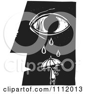 Clipart Person With An Umbrella Under A Crying Eye And Face In Profileblack And White Woodcut Royalty Free Vector Illustration