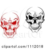 Clipart Evil Black And White And Red Skulls 2 Royalty Free Vector Illustration