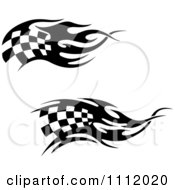 Clipart Black And White Tribal Checkered Racing Flags 4 Royalty Free Vector Illustration