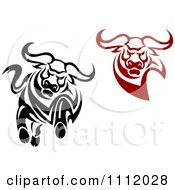 Clipart Black And White And Red Angry Bulls Royalty Free Vector Illustration